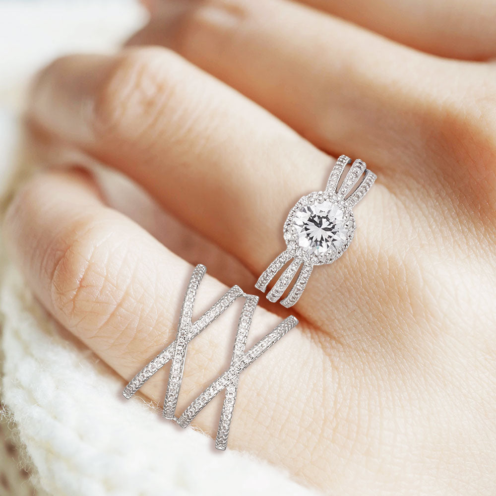 """Worth Waiting For"" 4.9CTW Round Cut Halo Split Shank Ring - Silver"