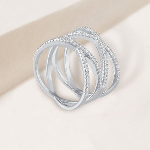 """Love Nest"" 3.9CTW Pave Criss Cross Ring - Silver"