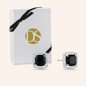 """Jemma"" 0.9CTW Square Cushion Cut Halo Stud Earrings - Silver"