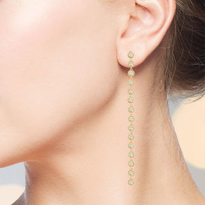 """Destination"" 3.5CTW Round Cut Linear Drop Earrings"