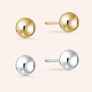 """ Two Ways to Allure"" High Polished Round Ball Set of 2 Post Earrings  - Sterling Silver and 18K Gold Vermeil"