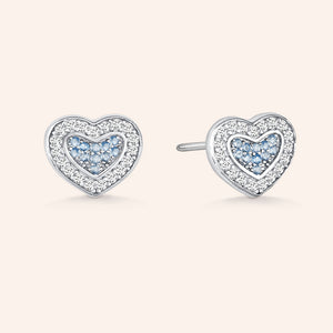 """Hearts Collide"" 0.9CTW Pave Stud Earrings - Sterling Silver / Gold Vermeil"