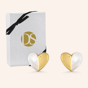 """My Other Half""  Mother of Pearl  Heart Post Earrings"