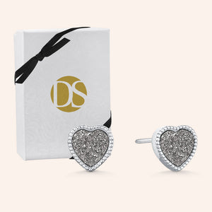"""Amore"" Heart Genuine Drusy Post Earrings"