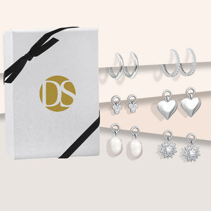 """Bejeweled"" Interchangeable Charms Huggie Earring Set"