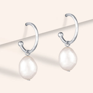 """Strada""  Baroque Freshwater Pearl Hoop Earrings"