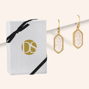 """Montana"" Hexagon Genuine Drusy Drop Earrings"