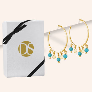 """Sweet Sentiments"" Freshwater Pearl or Turquoise Dangles Hoop Earrings"