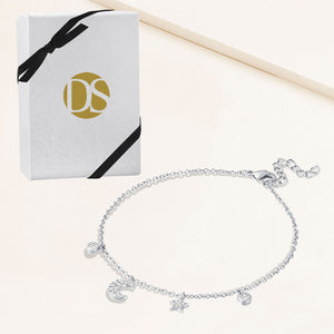 """Wishing on a Star"" 0.9 CTW Pave Moon and Star Charm Bracelet - Sterling Silver / Gold Vermeil"