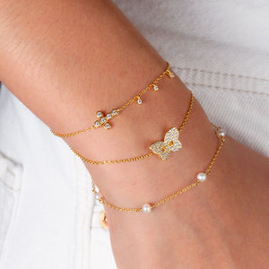 """Serenity"" 0.9CTW Bezel Set Cross and Charms Bracelet - Sterling Silver / Gold Vermeil"