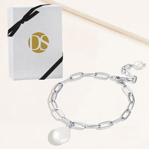 """Ocean Deep"" Cultured Freshwater Coin Pearl Clip Chain Bracelet"