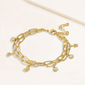 """Celestine"" Moon and Star Charms Double Clip Chain Bracelet"