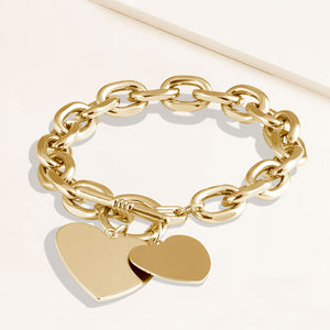 """Double Love"" Heart Pendants Oval Link Chain Toggle Bracelet"