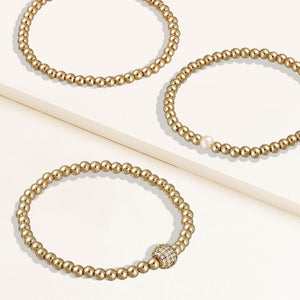 """Serena""  Set of Three Pearl, Pave Bead & Highly Polished 4 mm Beads Stretch Bracelets"