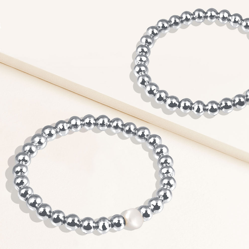 """Serena""  Set of Two Pearl & Highly Polished Beads Stretch Bracelets"