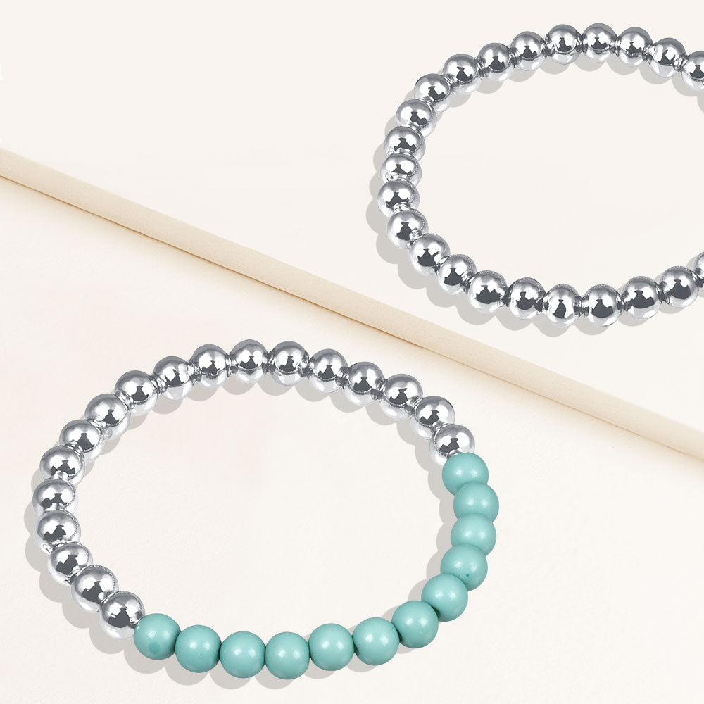 """Serena""  Set of Two Turquoise & Highly Polished Beads Stretch Bracelets"