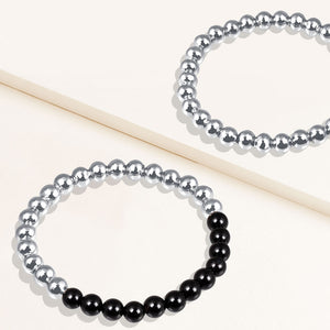 """Serena""  Set of Two Black Onyx & Highly Polished Beads Stretch Bracelets"