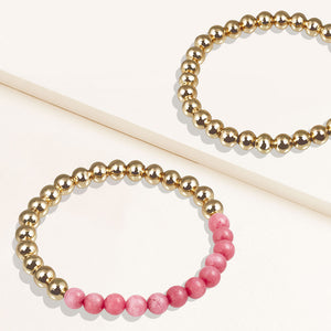 """Serena""  Set of Two Rhodochrosite & Highly Polished Beads Stretch Bracelets"