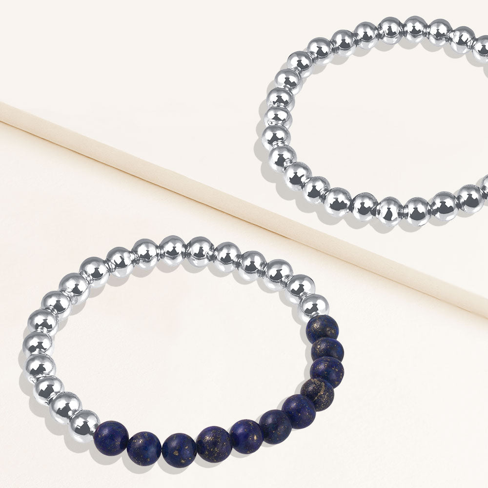 """Serena""  Set of Two Lapis & Highly Polished Beads Stretch Bracelets"