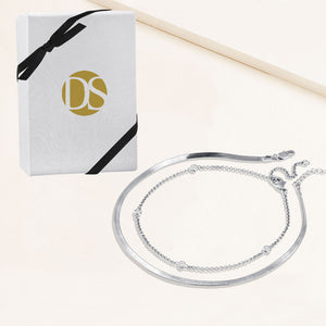 """Passion Duo"" Set of Two Herringbone and Station Chain Anklets"