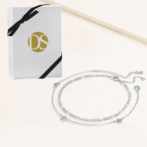 """Celestial Duo"" Set of Two Charms and Figaro Chain Anklets"