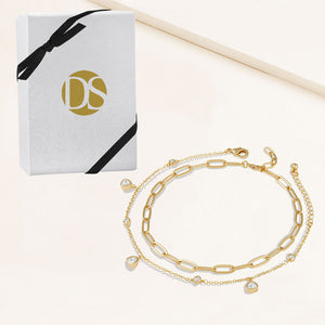 """Scarlett Duo"" 2.3CTW Set of Two Charms & Clip Chain Anklets"
