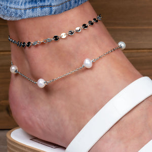 """Let's Go Duo"" Set of Two Freshwater Pearl Station & Disc Chain Anklets"