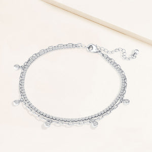 """Lover"" 4.3CTW Prong- Set Round Cut Tennis & Charms Clip Chain Layered Anklet"