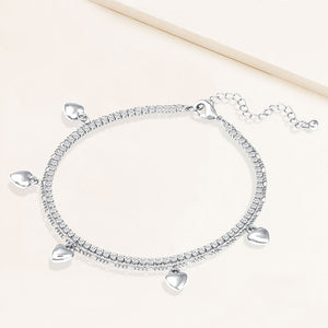 """Sweetheart"" 4.1CTW Prong- Set Round Cut Tennis & Heart Charms Figaro Chain Layered Anklet"