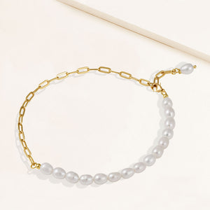 """Side-By-Side"" Cultured Freshwater Oval Pearls Clip Chain Anklet"