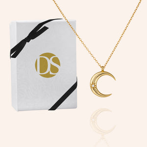 """Moondance"" 0.6CTW  Crescent Moon Pendant Necklace - Sterling Silver / Gold Vermeil"