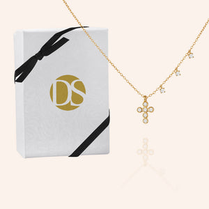 """Serenity"" 0.9CTW Bezel Set Cross and Charms Necklace - Sterling Silver / Gold Vermeil"