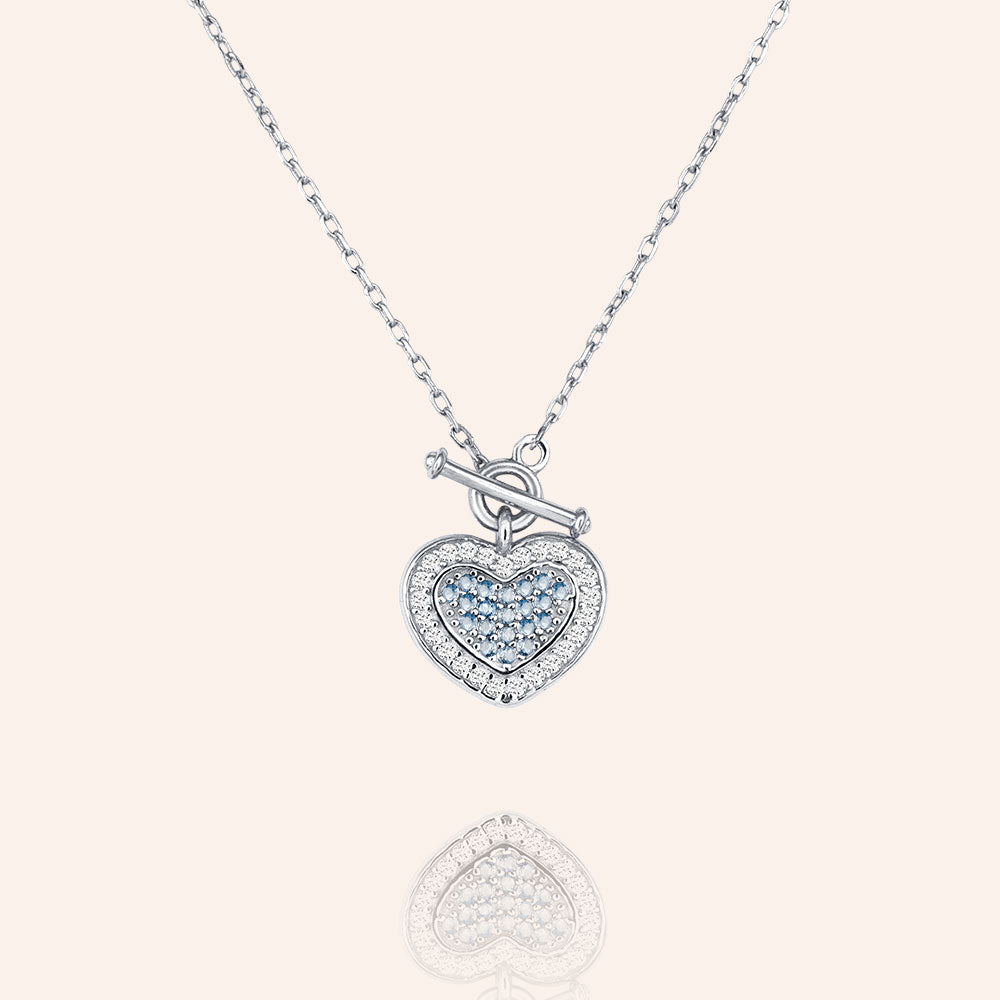 """Hearts Collide"" 1.8CTW Pave Pendant Necklace - Sterling Silver / Gold Vermeil"