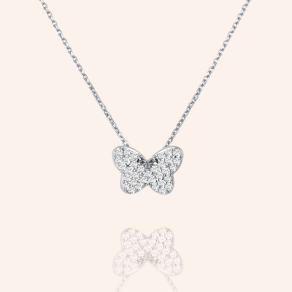 """Melody"" 1.4CTW Pave Butterfly Pendant Necklace"