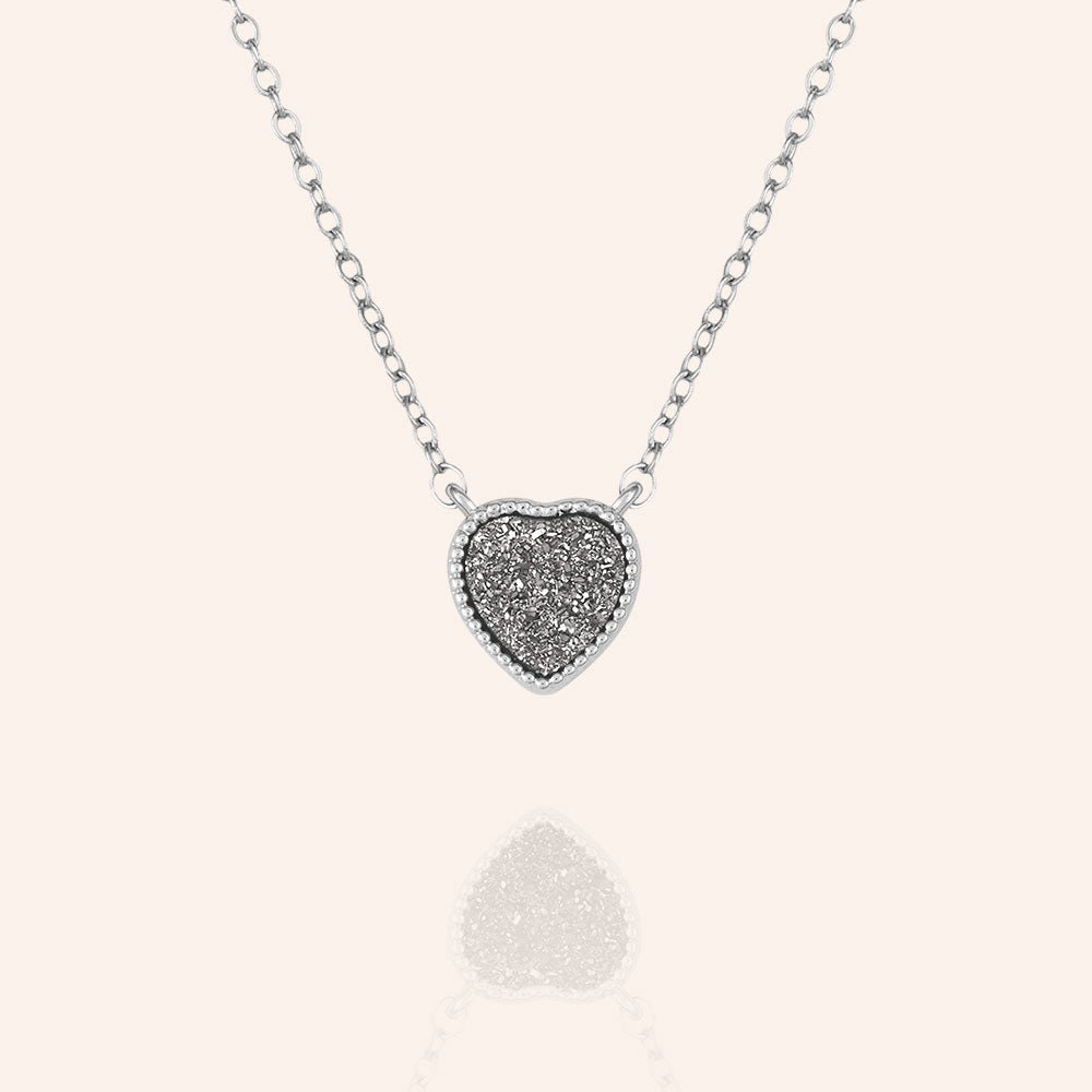 """Amore"" Heart Genuine Drusy Pendant Necklace"