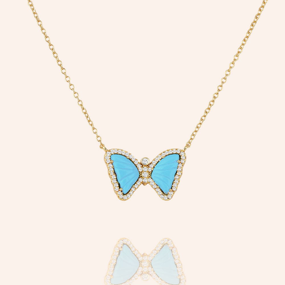 """Free Spirit"" 1.2CTW Carved Turquoise or Pink Spinel Butterfly Pendant Necklace"