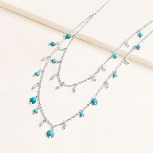 """Sweet Sentiments"" Freshwater Pearl or Turquoise Dangles Layering Necklace"