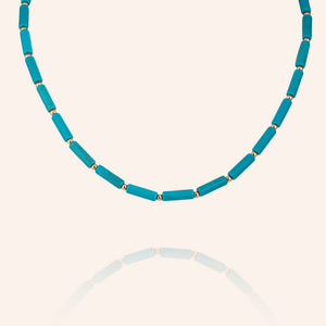 """Zola"" Semi-Precious Tubes and Polished Beads Necklace"