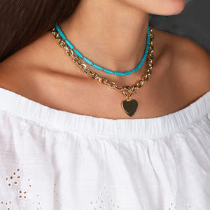 """Double Love"" Heart Pendants Oval Link Chain Toggle Necklace"