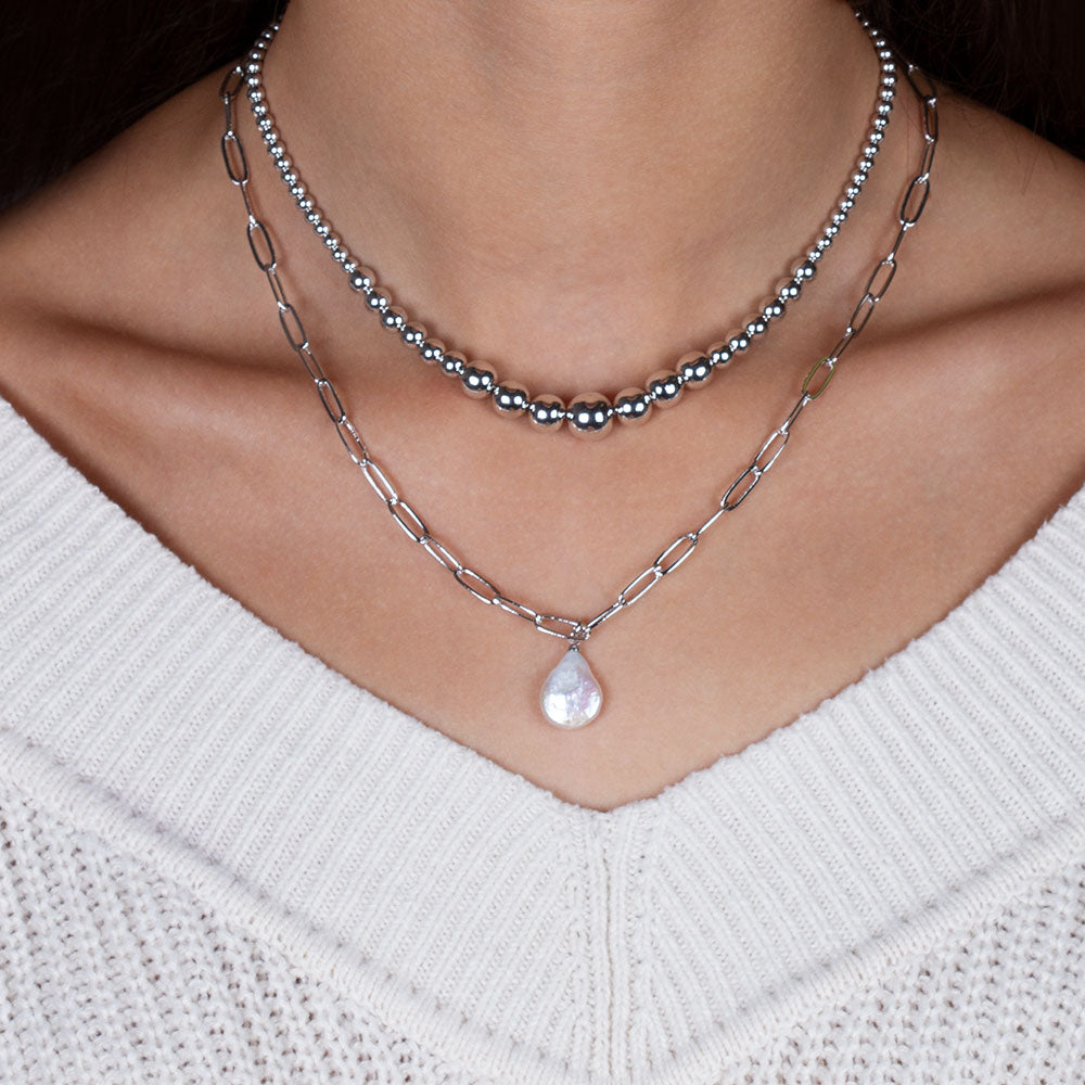 """Ocean Deep"" Cultured Freshwater Coin Pearl Clip Chain Necklace"
