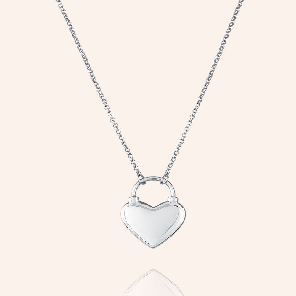 """Only Love"" Heart Padlock Pendant Necklace"