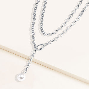 """Meant to Be"" Baroque Freshwater Pearl Oval Link Chain Layered Necklace"