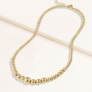 """Bluma"" Graduated Highly Polished Bead Necklace"