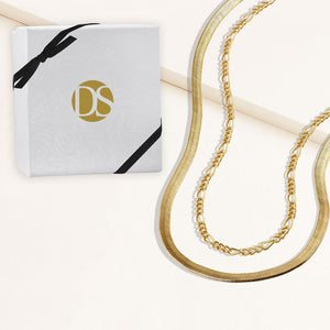 """Alice Duo"" Set of Two Herringbone & Figaro Chain Layering Necklaces"
