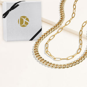 """Celina Duo"" Set of Two Curb & Thin Clip Chain Layering Necklaces"