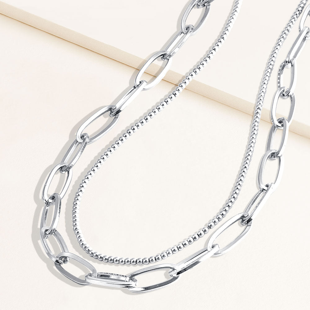 """Julia Duo"" Set of Two Long Clip Chain & Polished Beads Layering Necklace"