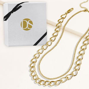 """Cleo Duo"" Set of Two Polished Beads & Open Curb Chain Layering Necklaces"