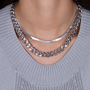 """Lola Duo"" Set of Two Herringbone & Large Curb Chain Layering Necklaces"