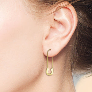 """Elyse"" Safety Pin Earrings - Sterling Silver / Gold Vermeil"