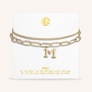 """One in a Million"" Clip and Curb Layered Chains Initial Bracelet"
